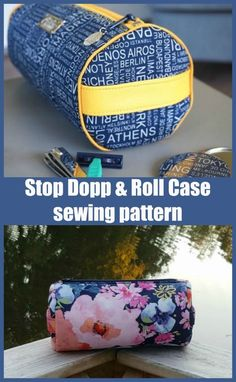 Stop Dopp And Roll Case sewing pattern. How to sew a DIY dopp bag for men. This round toilettry bag to sew has a full length zipper and smart piping details. Handles on each end make this cosmetics bag pretty and practical. Zipper bag sewing pattern.#SewModernBags #SewABag #BagSewingPattern #SewAZipperBag #ZipperBagSewingPattern