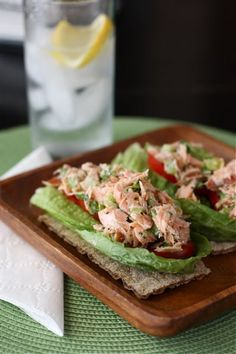 WILD SALMON (not farm raised) protects your skin from the sun Simple Salmon Salad. Use your leftover salmon for Salmon salad instead of tuna salad ? Salmon Salad Recipes, Fish Recipes, Lunch Recipes, Seafood Recipes, Cooking Recipes, Healthy Recipes, Fish Dishes, Seafood Dishes, Clean Eating