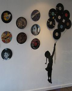 Vinyl Records used as a canvas, or installation art piece. [Source]