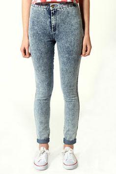 Lenora Acid Wash High Rise Disco Jeans at boohoo.com