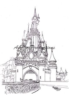 This is a drawing of my favorite castle, The Sleeping Beauty castle at Disneyland, Paris. Disney Castle Drawing, Castle Sketch, Disney Castle Tattoo, Disney Drawings, Sleeping Beauty Fairies, Sleeping Beauty Castle, Mermaid Coloring Pages, Disney Coloring Pages, Disney Kunst