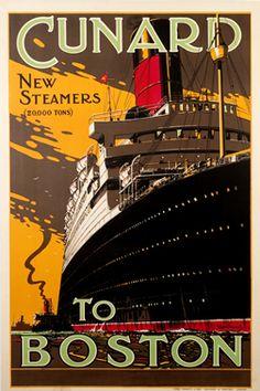 Thomas, Walter poster: Cunard to Boston 1925