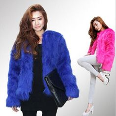 Womens Faux Fox Fur Coat Short Party Chic Outwear Soft Jacket Warm Parka 5 Color