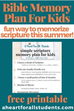 Create summer structure with this simple 6-step Scripture memory plan for you & the kids! Memorize the Bible in just 5 minutes a day. Have fun with your kids & memorize the Bible for good using this multi-sensory approach. It works & is so much fun!! Add this to your summer or homeschool routine & deepen your family relationships with God's Word. Rhythm, movement & music are excellent self-regulation tools for your special needs kids as well!! #adhd #autism Memory Strategies, Bible Verse Memorization, Bible Resources, Multi Sensory, Bible Study For Kids, Executive Functioning, Bible Lessons, Homeschool Curriculum, Raising Kids