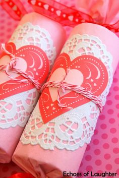 Valentine's Favors Craft-made with re-cycled toilet paper tubes and decorated! Great project for girls!