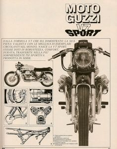 Moto Guzzi Sport - such a beautiful bike, then and now. Always loved that double-sided drum front brake. Bike Poster, Motorcycle Posters, Motorcycle Quotes, Motorcycle Art, Vintage Bikes, Vintage Ads, Vintage Posters, Vespa, Moto Guzzi Motorcycles
