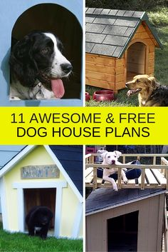 11 Free DIY dog house plans.