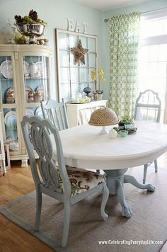 Dining Room Table and Chairs Makeover with Annie Sloan Chalk Paint by deidre