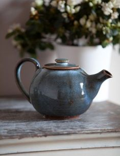 Blue stoneware tea pot