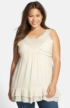 Plus Size Crochet Trim Tiered Hem Tank