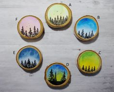 Watercolor On Wood, Easy Watercolor, Circle Painting, Painting On Wood, Wood Slice Crafts, Wood Crafts, Painted Wood Signs, Painted Rocks, Circle Crafts