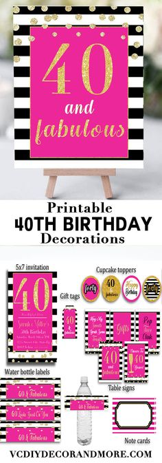 Birthday Party Decorations- Forty and Fabulous Sign Pink Celebrate turning 40 with theses pink and black birthday party decorations. Perfect for women turning 40 and who are 40 and fabulous. These printables are affordable and easy to use. Shop now. 40th Birthday Party For Women, 40th Birthday Themes, Birthday Party Decorations For Adults, 40th Birthday Gifts, Birthday Woman, Birthday Fun, Birthday Recipes, 30th Party, Birthday Cakes