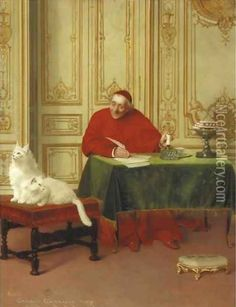 The Cardinal's Cats by Belgian Painter Georges Croegaert 1848-1923