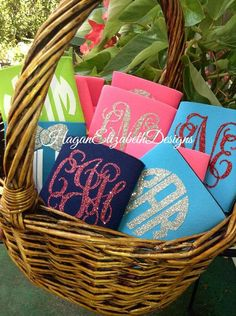 glittered monogram koozies.