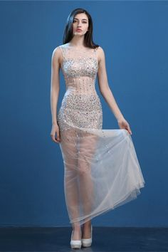 Sexy Illusion Neckline Cutouts Open Back Champagne Tulle Beaded See Through Prom…