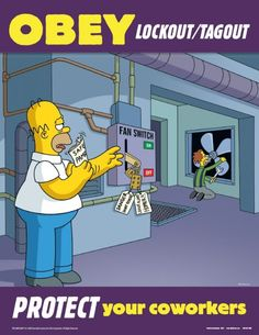 simpsons poster   Lockout Tagout Simpsons Safety Posters