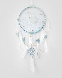 Blue Dream Catcher, Large dreamcatcher, Heavenly dream, White, Blue, wooden beads, duck feathers by magicalsweetdreams. Explore more products on http://magicalsweetdreams.etsy.com