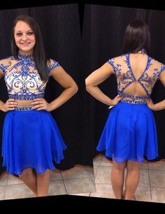 Chic High Neck A-line Knee Length Chiffon Royal Blue Homecoming Dress With Beading