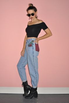 Vintage 80s Acid Washed Color Block Dyed Denim by WhiteCityVintage