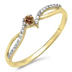 DazzlingRock Collection 0.15 Carat (ctw) 10K Gold Champagne