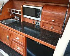 Juno Custom Teardrops - Rick Teardrop Model, Custom Galley with sink, microwave, and refrigerator.  JCT