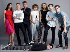 Morena Baccarin, Ben McKenzie, Sean Pertwee, Camren Bicondova, Erin Richards, David Mazouz, Cory Michael Smith; (on floor) Robin Lord Taylor, 'Gotham' #EWComicCon  Image Credit: Michael Muller for EW