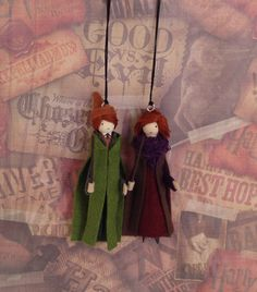 Authur and Molly Weasley Clothespin Doll Ornaments by LittleParade