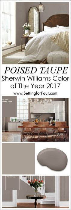 For your home: Looking for a paint color to paint your next room? See why I love Poised Taupe SW 6039 - Sherwin Williams Color of the Year 2017 and how it looks in real rooms! #diyhomedecor