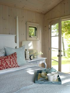 Cottage - Top 10 Bedroom Design Styles on HGTV Sarah Richardson, designer, made lamp from birch tree from her yard.