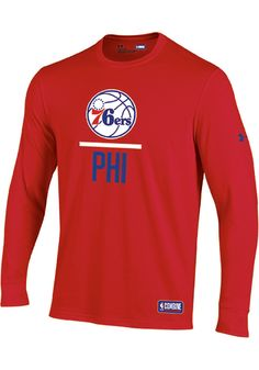 2338cfed Under Armour Philadelphia 76ers Red Lockup Long Sleeve T Shirt - 55291966