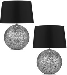 Pair of Silver Glitter Bedside Table Lamps With Black Shades ...