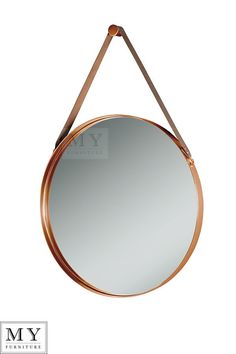 Timeless and elegant combination of copper and dark brown aniline leather will coordinate with most styles and settings. A beautiful, contemporary mirror with an understated, industrial aesthetic. Large Round Mirror, Round Wall Mirror, Round Mirrors, Copper Mirror, Copper Wall, Mirrors With Leather Straps, Wall Mirrors For Sale, My Furniture, Guest Bedrooms
