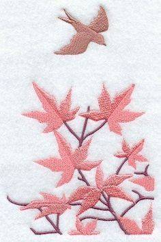 EMBROIDERY - Japanese Maple and Bird   Embroidery   Pinterest