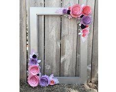 Marco Floral de plata, prop de la cabina de foto, con rosas color de rosa, rubor y lavanda 3d, perfecto para boda, nupcial ducha, cumpleaños y más