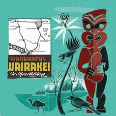 NZ Holiday by Aaron Hogg - prints New Zealand Art, Maori Art, Art Director, Teal, Colours, Graphic Design, Mood, Art Prints, Illustration