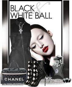 """BLACK AND WHITE BALL"" by mzbossyfashions11 on Polyvore"