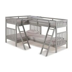 Alaterre Furniture Aurora Dove Gray Twin Adjustable Bed at Lowe's. Aurora is a versatile, mission bunk bed. With its Brazilian Pine construction this bed is well made for your family. Wood Bunk Beds, Bunk Beds With Stairs, Twin Bunk Beds, Kids Bunk Beds, Bunk Bed Sets, Loft Spaces, Small Spaces, Triple Bunk Beds, Kids Toddler Bed