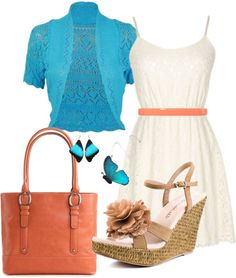 """aqua and coral"" by sandra-mcmann on Polyvore"