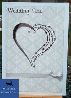 Blue Silver Weddings, Blue Wedding, Wedding Day, Silver Bow, Blue And Silver, Heart Cards, Etsy Uk, Card Maker, Greeting Cards Handmade