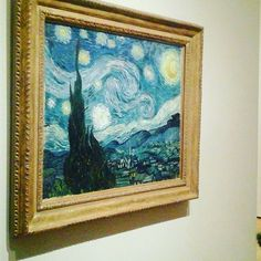 #TravelThursday It was very crowded at #MOMA today, but I was able to see one of my favorite #VanGogh paintings, #TheStarryNight! Read about more of the sights and flavors of our visit to #NYC! http://sociallyco.blogspot.ca/2016/04/all-of-amazing-sights-flavors-of-new.html   #art