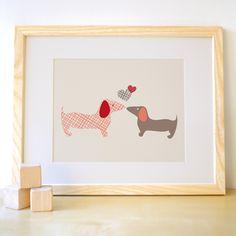 8x10 Doggie Love - Papaya/Grey - Dog kids wall art print for nursery and children's room. $24.00, via Etsy.