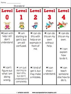 LEVELS OF UNDERSTANDING ASSESS YOURSELF RUBRICS AND POSTERS {SUPER HERO KIDS} - TeachersPayTeachers.com