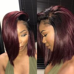 Fall Hair Color For Black Women Burgundy 46 Ideas Black Girl Hair Colors, Burgundy Hair Black Girl, Black Cherry Hair, Hair Color For Women, Hair Color For Black Hair, Hair Color Streaks, Wine Hair, Curly Hair Styles, Natural Hair Styles