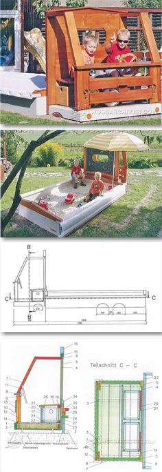 Car Sandbox Plans - Children's Outdoor Plans and Projects | WoodArchivist.com #WoodworkingChildrenToys