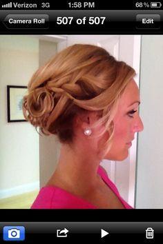 Bridesmaid updo, love the braid