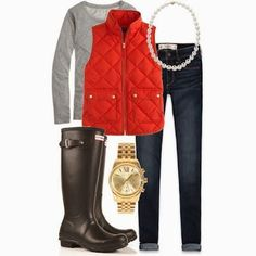 winter style // red vest // preppy