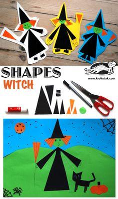 Bruja hecha con figuras geométricas #edplástica // Shapes witch #halloween vía @krokotak