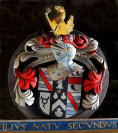 Heraldic Shield, Monument to Sir Nicholas Halswell, Goathurst, Somerset.