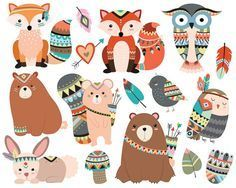 Woodland Tribal Animals Cute Forest and Nature Design Elements Vector - Trend Illustration Design 2019 Forest Animals, Woodland Animals, Woodland Nursery, Woodland Forest, Woodland Critters, Woodland Party, Nature Animals, Tribal Animals, Cute Animals