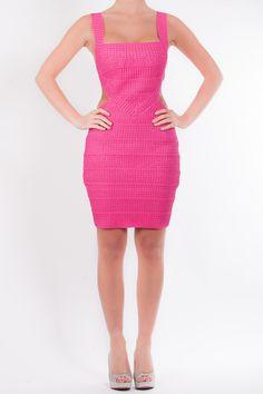 cc9199d8913e Demi - gorgeous fuchsia pink dress with cutout detail at the waist